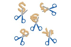 Scissors cutting symbols of currencies on vector illustration