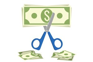 Scissors cuts budget, process of cutting dollar banknote vector