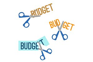 Title budget and scissors that cutting it vector illustration