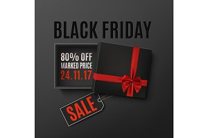 Black Friday sale design. Opened black empty gift box.