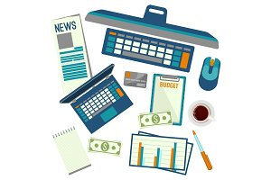 Elements necessary for making up budget plan vector illustration