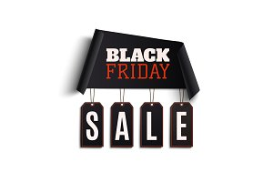 Black friday background. Curved paper banner.