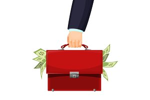 Man holding red budget briefcase filled with money vector illustration