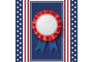 Blank badge. Patriotic award ribbon on abstract background.