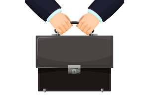 Closeup of budget leather briefcase held tightly in hands vector