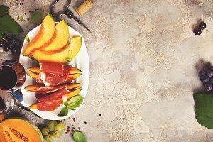 Prosciutto ham with cantaloupe melon