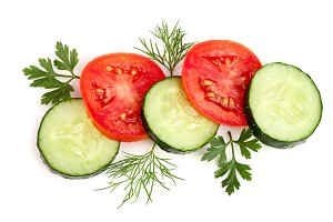 tomato and cucumber slice with parsley leaves, dill isolated on white background. Top view
