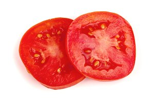 Two tomato slice isolated on white background. Top view