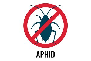 Anti-aphid emblem with circle and line vector illustration