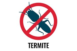 Anti-termite red and blue icon on vector illustration