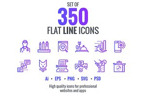 Set flat gradient line icons