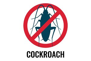 Cockroach anti bug emblem in circle vector illustration