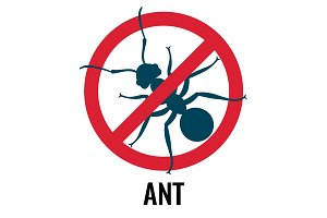 Anti-ant emblem with bug placed in circle vector illustration