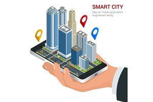Isometric Smart City concept. Mobile gps navigation and tracking concept. Hand holding smartphone with city map path and location mark on the screen.