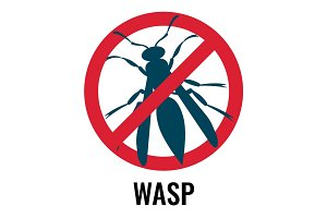 Anti wasp sign with icon of fly, vector illustration