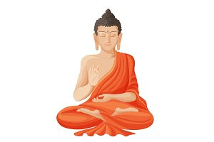 Gautama buddha with raised right hand on vector illustration