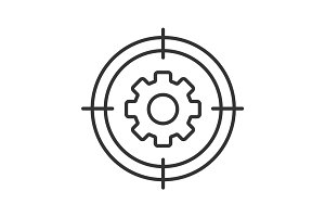 Aim on cogwheel linear icon