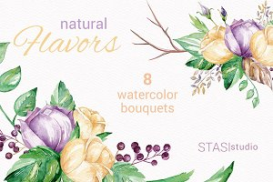 Watercolor Bouquets Clipart