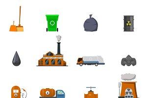 Environmental Pollution Icon Set