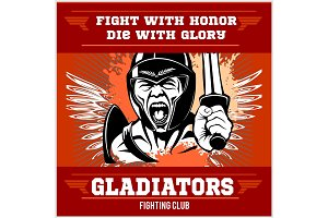 Fight club emblem with gladiator
