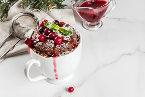 Chocolate mugcake with cranberry