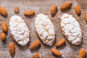 Almond cookies, italian ricciarelli.
