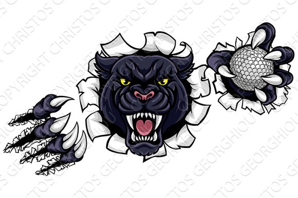 Black Panther Golf Mascot Breaking Background in Illustrations