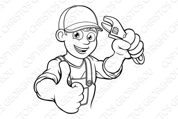 Mechanic or Plumber Handyman With Wrench Cartoon