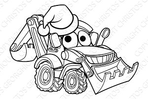 Cartoon Christmas Digger Bulldozer