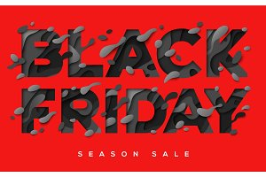 Black Friday Sale Poster on red background