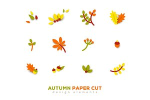 Autumn cute paper cut design elements.