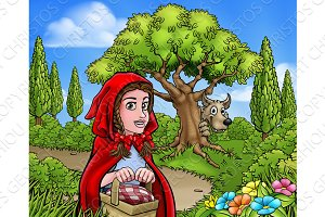 Little Red Riding Hood Cartoon Fairy Tale Scene