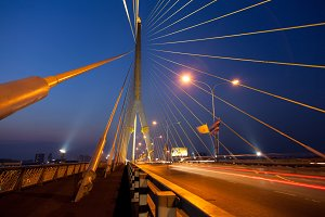 Bridge and roads evening.