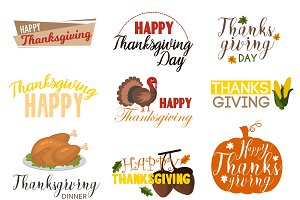 Thanksgiving badges logo vector