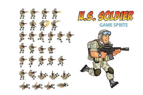 U.S. Soldier Game Sprite - Illustrations