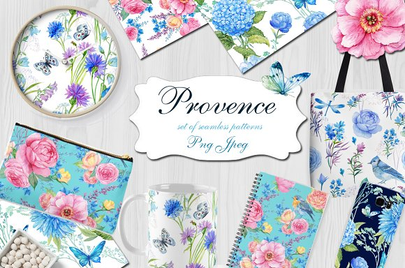 Provence. watercolor patter-Graphicriver中文最全的素材分享平台