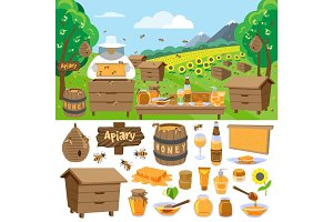 Apiary farm vector honey making icons illustration