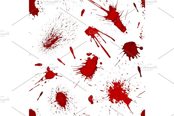 Red blood or paint splatters splash spot seamless pattern background vector illustration in Textures