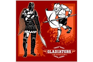 Set of gladiators on red background.