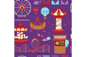 Carousels amusement attraction side-show kids park construction vector illustration seamless pattern background