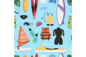 Kite boarding fun ocean extreme water sport canoe surfer sailing leisure ocean activity summer recreation extreme vector seamless pattern background