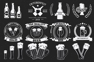 Beer Badges, Pub Icon Vector Set