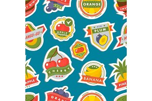 Fruits logo badges template vector icons illustration for farm and product seamless pattern background