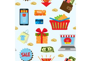 Supermarket web shopping cartoon set food and commerce products shop icons isolated on white vector seamless pattern background .