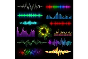 Digital music equalizer audio waves set vector llustration design template audio signal visualization