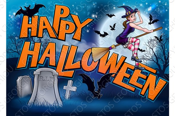 Happy Halloween Cartoon Witch Sign ~ Illustrations ~ Creative Market