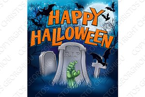 Happy Halloween Monster Zombie Cartoon Sign