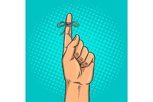 Knot on finger pop art vector illustration