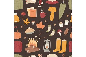 Autumn season icons symbol vector illustration seamless pattern background