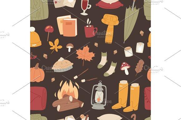 Autumn season icons symbol vector illustration seamless pattern background